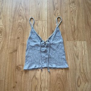 Don't Ask Why Gray, Ribbed Knit , Tie Up Tank Top